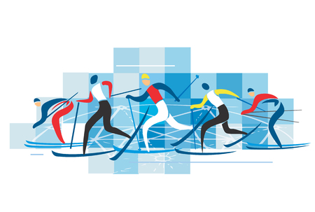 Los esquiadores de esquí de fondo. Un dibujo estilizado de competitors.Vector de esquí de fondo disponibles. Foto de archivo - 49139222
