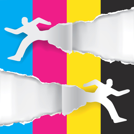 craft man: Color printing advertisment. Paper silhouette of  running men ripping paper with print colors with place for your text or image.  Concept for presenting color printing. Vector available.