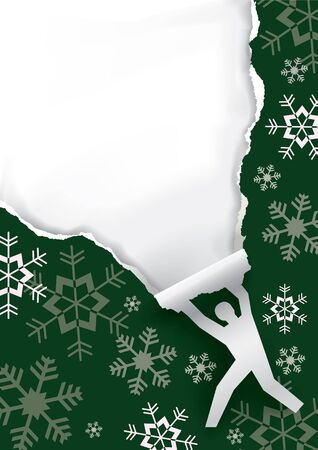 gift season: Christmas surprise.  Paper male silhouette ripping christmas paper background with copy space