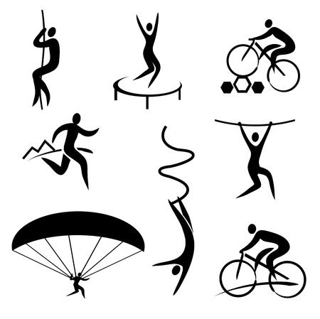 bungee jumping: iconos de los deportes al aire libre y adrenalina. Conjunto de iconos negros con los deportes al aire libre y adrenalina. Vectores
