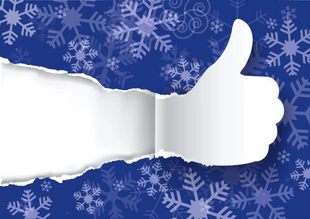 advertises: Christmas torn paper with Thumbs up.  Illustration