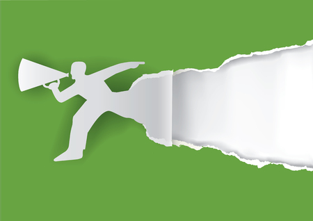 busy person: Man with megaphone ripping paper. Man advertises or sells shouts in a megaphone with place for your text or image.  Template  for a original advertisement. Vector illustration.