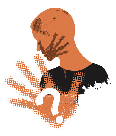 Young man victim of violence. Young man grunge stylized silhouette covering strike with hand print on the face. Vector available.