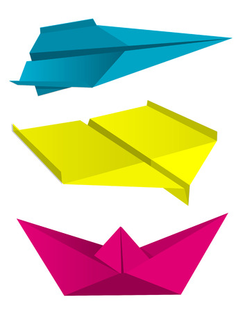 Origami airplanes boat print colors.  Illustration of folded colorful paper models, airplan and boat,  isolated on white background, Concept for presenting of color printing. Vector available. Illustration