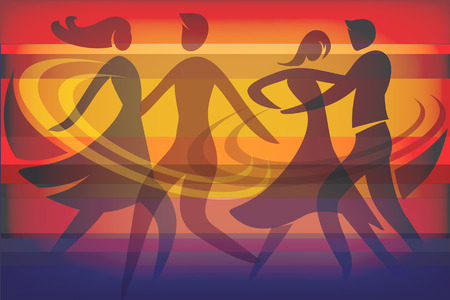 2 つのダンスのカップル。踊るカップルのシルエットとカラフルな背景は。使用可能なベクトル。