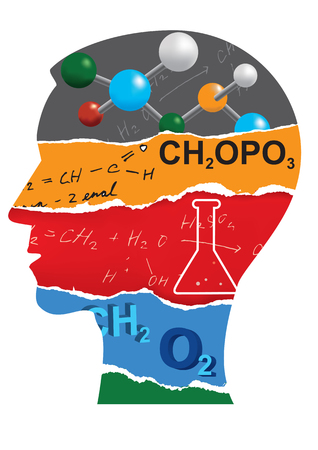 pedagogy: Chemistry student head silhouette. Human Head stylized silhouette with Chemistry symbols and notes. Vector available.