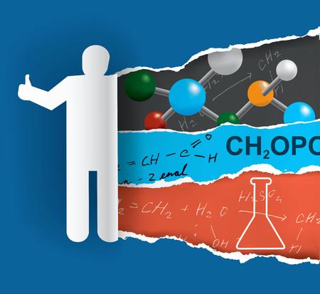 Die Entdeckung der Chemie. Menschliche Silhouette zerreißt Papier mit Chemie Symbole und Hinweise. Vector verfügbar. Vector verfügbar. Vektorgrafik