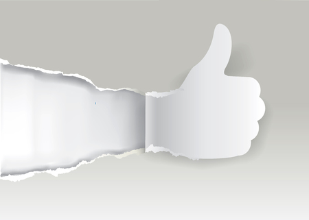 Gesturing paper hand with thumb up.  Paper silhouette Gesturing  thumbs up on the ripping white paper background with place for your text or image. Vector available.