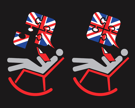 pronounce: English is easy. Icon with man holding book on the rocking chair with  Puzzle speech bubbles with British flag. Vector available. Illustration