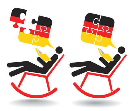 autodidact: German student autodidact. Icon with man holding book on the rocking chair with  Puzzle speech bubbles with German flag. Vector available.