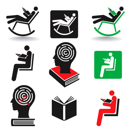reader: Reader book icons. Set of nine icons symbolizing  readers, books and education. Vector available.