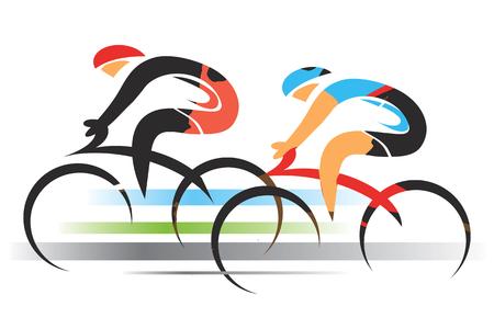 Dwóch rowerzystów sportowych. Dwóch rowerzystów wyścigowych. Kolorowa stylizowana ilustracja. Wektor dostępny.