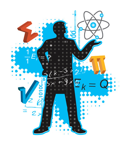 physics: Teacher of Maths and Physics. Mathematics and physics teacher stylized silhouette with mathematics and physics symbols. Vector available.