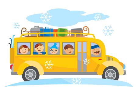 chofer de autobus: invierno autobús escolar de dibujos animados viaje escolar. De dibujos animados de autobús escolar amarillo que viaja en un viaje escolar de invierno. Vector disponible.