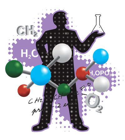 chemists: Chemist and chemistry symbols. Chemist stylized silhouette with chemistry symbols and formulas. Vector available. Illustration