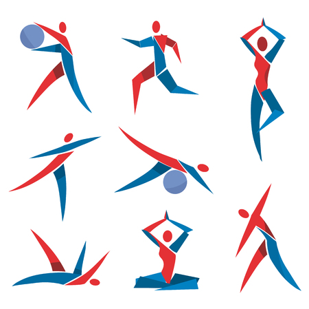 gimnasia aerobica: Iconos de la aptitud de yoga. Conjunto de deporte, fitness, iconos de colores de ejercicios de yoga. Vector disponible. Vectores