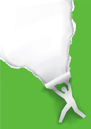silueta masculina: silueta masculina que rasga el fondo de papel. Silueta masculina de papel rasgado de papel de fondo verde con lugar para el texto o la imagen. Vector disponible. Vectores