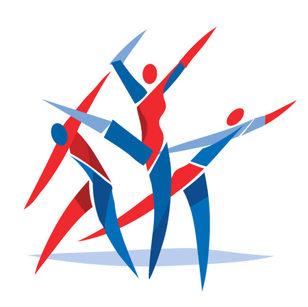 exercising: Modern dance ballet dancers. Group of modern dance or ballet dancers. Stylized illustration. Vector available.
