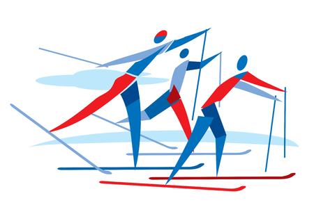 Cross country Skier race. A stylized drawing of cross country ski competitors. Vector available.
