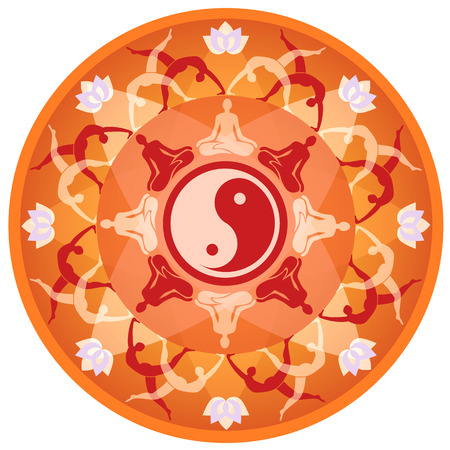positions: Yoga mandala. Mandala background with yoga symbols and positions. Vector available. Illustration