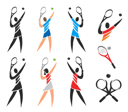 wimbledon: Tennis icons symbols. Set of black and colorful  icons of tennis. Vector available.
