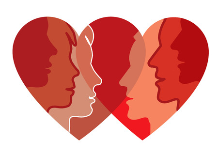 heart intelligence: Relationships and love. Young couple silhouettes in the heart shape symbolizing love. Vector available.. Illustration