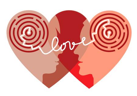 Laberinto de amor. siluetas femeninas y masculinas en la cabeza con laberinto y la palabra que simboliza el amor procesos psicológicos de la comprensión y el amor. No es un person.Vector especial disponible.