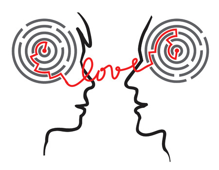 an understanding: Maze of love. Female and male head silhouettes with maze and word love symbolizing psychological processes of understanding and love. It is not a particular person.Vector available.