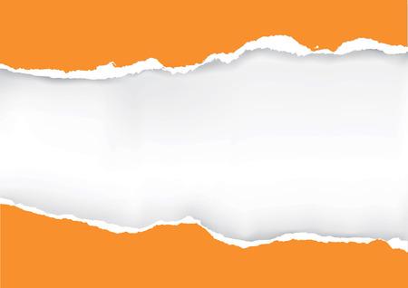 Rasgada anaranjada de papel. Ilustración de naranja arrancó el papel con el lugar de su imagen o texto. Vector disponible.