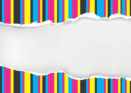 offset: Ripped paper with print color stripes. Ripped paper with place for your image or text. Concept for presenting color printing. Vector available.