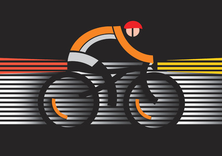 nighttime: Bicycle safety in the dark. Abstract stylized cyclist in the dark with safety features. Vector available.