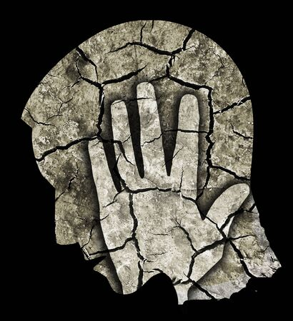 extreme heat: Depression Headache Drought. Man holding his head.Photo-montage with Dry cracked earth symbolizing Depression, Headache.
