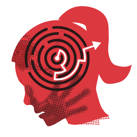 oneself: Solution of domestic violence. Young Woman grunge silhouette with hand print on the face and solved maze symbolizing Solution of domestic violence . Vector available. Illustration