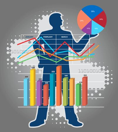 accountancy: Economic Results presentation.  Economist stylized silhouette with charts and numbers. Vector available. Illustration