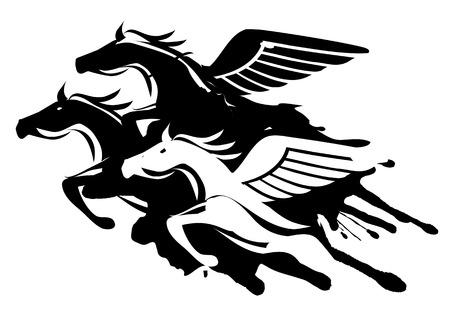 pegasus: Tres caballos alados a la velocidad máxima. Ilustración sobre fondo blanco. Vector disponible. Vectores