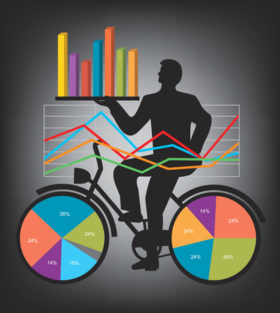 economics: Economic Results Presentation.  Businessman on bicycle with charts and numbers presenting economic results available.