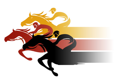 Horse Racing. Three racing jockeys at Full Speed. Colorful illustration on white background.