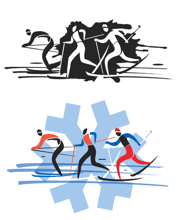 Three cross country skiers. Three stylized cross country skiers. Colorful and black variant. Vektorové ilustrace