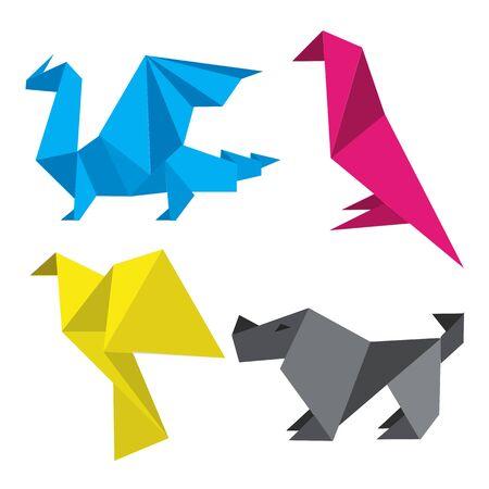 imprenta: Origami en tintas de impresión. Cuatro modelos de origami estilizadas simples en tintas de impresión. Concepto para la presentación de la impresión en color.