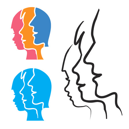 father and child: Parenting stylized head silhouettes. Stylized silhouettes of child, mother and father. Illustration