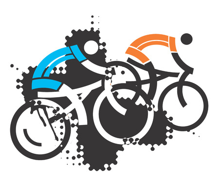 mtb: Two mountain bikers. Two stylized  mountain bikers on the grunge abstract background.