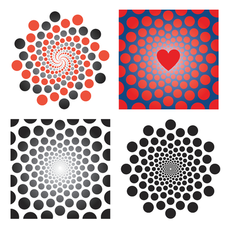 Four backgrounds with illusion of rotation movement and spirals.