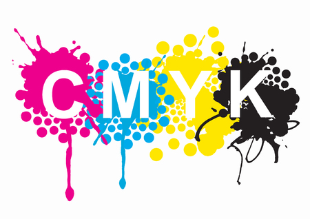 colours: CMYK print colors.  CMYK cyan magenta yellow black inks and sign on white background. Concept for presenting color printing.