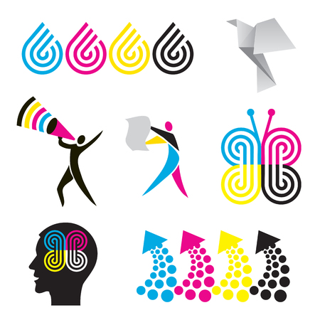 polygraph: Color print design elements. Set of colorful icons for presentation color printing. Illustration