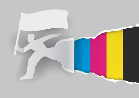 uncovering: Color print promotion template. Paper man silhouette  with flag ripping paper with print colors. Concept for presenting color printing.