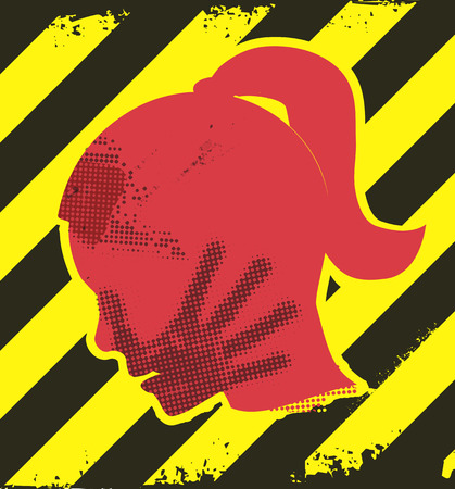 violence: Danger of domestic violence. Young Woman grunge silhouette with hand print on the face. On yellow and black striped background. Illustration