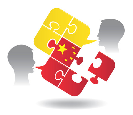 pronounce: Chinese lesson dialog. Two students and Puzzle bubble talk with a Chinese flag symbolizing Chinese conversation.