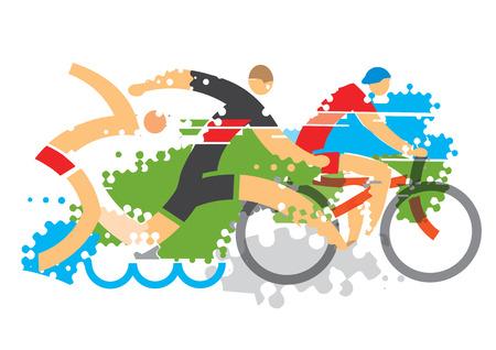 triathlon: Three Triathlon Racers. Three triathlon athletes on the grunge background.