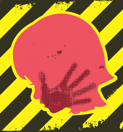 slap: Danger of violence against children. Little girl grunge silhouette with hand print on the face. On yellow and black striped background. Illustration
