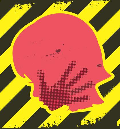 Peligro de la violencia contra los niños. Poca silueta de la chica grunge con la impresión de la mano en la cara. En el fondo de rayas amarillo y negro.